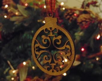 laser cut chirstmas tree decoration bauble