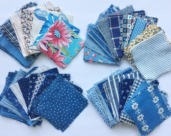 Blue Scheme Vintage Quilt Squares and Patches