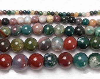 Natural Indian Agate Beads, Gemstone Beads, Green beads, Round Natural Beads, Jasper Beads, Full Strand 4mm 6mm 8mm 10mm 12mm