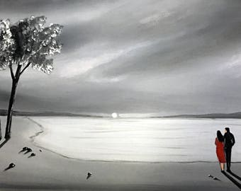 grey sky painting, original grey canvas art, cloudy painting, painting of couple in love, seascape and couple, painting of beach and couple,