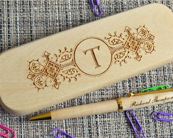 Personalized Engraved Pen Set, Wooden pen Set, Graduation Gift,  Custom Pen Set, Birthday Gift, Maple Pen, monogram pen case. PB9