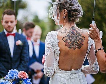 Handmade Vintage Style Lace Long Sleeve Open Back Boho Bridal Provence Wedding Winter Dress