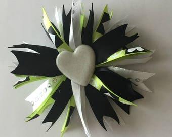 Hair bow, girls hair bow, green hair bow, black hair bow, hair accessories, gifts for girls, hair bows, spiky hair bows, spiky puff bow