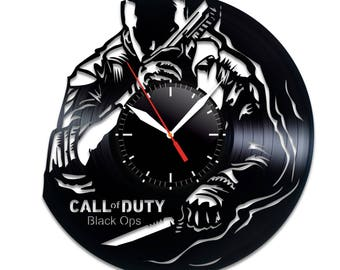 Call of Duty Black Ops vinyl clock Call of Duty home decor Call of Duty wall poster Call of Duty  Call of Duty videogame valentines decor