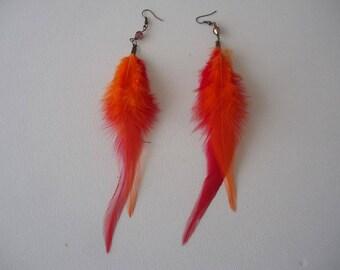 #Eté - earrings double feather red-orange