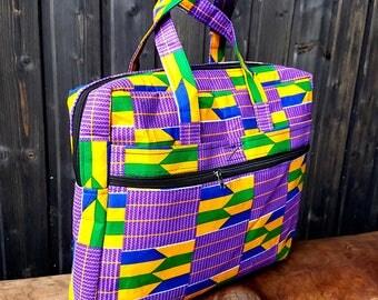 Purple Kente laptop bag, padded laptop bag, african print laptop bag.  school bag, book bag, laptop case