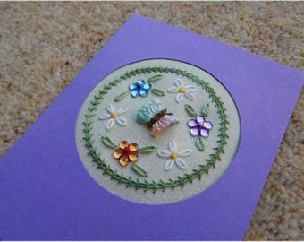 Butterfly wreath embroidery card kit with floral gems