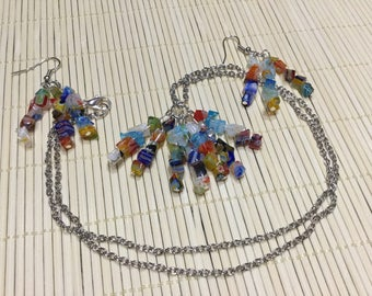 Sunset necklace and earring set