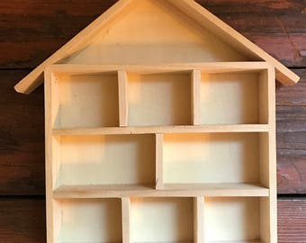House Shaped Shadow Box / Printers Tray / Display Shelf