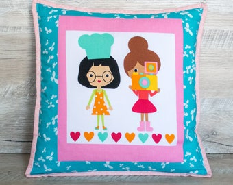 Girl pillowcase Kids pillows Birthday gift Decorative pillow Cute pillow for girl gift turquoise pink Nursery decor Patchwork pillow covers