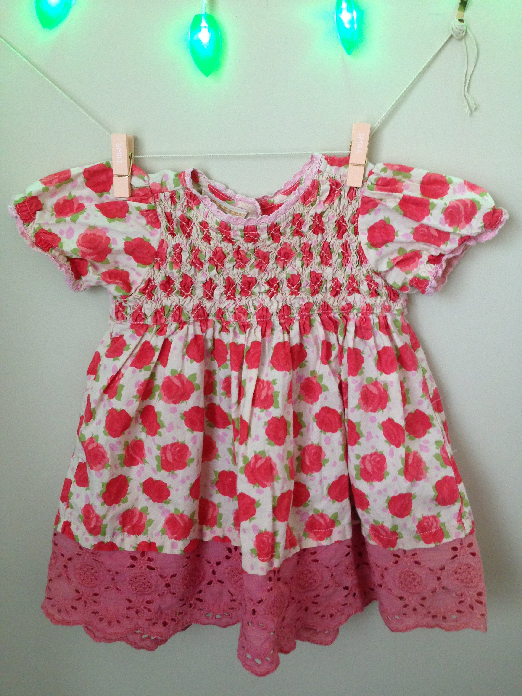 Vtg Roses Smocked Dress for Baby Size 6 12 Months Vintage Baby