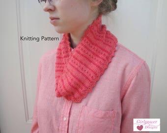 Colorwork Cowl Scarf Knitting Pattern, Polka Dot Stripes, Picot Edge, Worsted DK Yarn, Neck Warmer Scarf