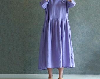 Linen dress,linen clothing,purple linen dress ,Loose dress
