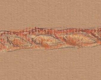 Baguette pastel sketch