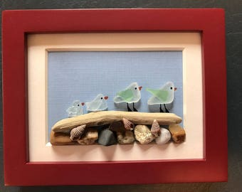 "Family of 4, Sea Glass Bird Scene, ""Follow the Leader"", Beach Art, Cottage Decor"
