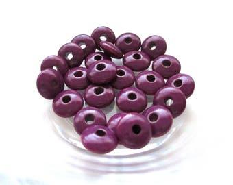 50 Perles en bois plates pour Attache Tétine - Prune