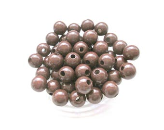 50 wooden pacifier 10mm - chocolate pearls