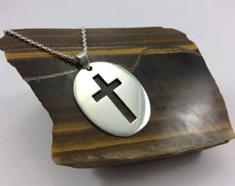 Sterling Silver cross Necklace, cross pendant, dogtag cross necklace, plain silver cross, silver dog tags , silver cross,