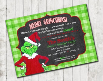 Grinch inspired Christmas- Party Invitation- high resolution digital file
