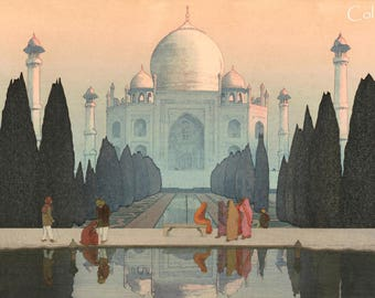 "Japanese Art Print ""Morning/Night at the Taj Mahal"" from the India and Southeast Asia Series by Yoshida Hiroshi, woodblock reproduction"