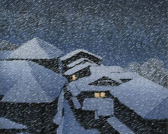 "Japanese Art Print ""Snow Storm at Hatori"" by Kawase Hasui, woodblock print reproduction, asian art, falling snow, night, snowy, winter"