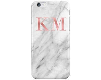 Personalised Name initials Rose Gold White Marble Phone Case Cover for Apple iPhone 5 6 6s 7 8 Plus & Samsung Galaxy Customized Monogram