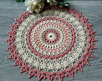 Crochet doily Lace doily Cream doily Large round doily Elegant home decor Cotton doily Mother's gift Anniversary gift Housewarming gift