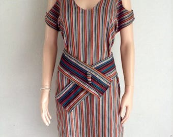 Dress cotton 38/40/42/44/46/48 multicolored Mexican style