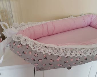 Baby nest Babycocoon cosy nest pink Geblpmt grey