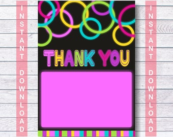 Thank You Glow, Neon Thank You, Instant Download, Neon Birthday, Glow In The Dark Party, Let's Glow