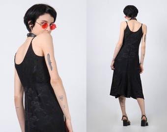 black silk slip dress size xs small