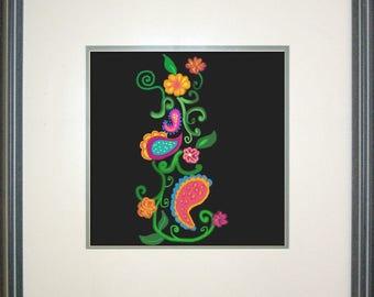 Neon Vine, Colorful, Custom, Art print , Canvas, Original,Digital art, Art, Floral, Abstract, Bright