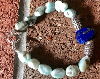 Lapis Lazuli 14mm focal faceted bead and Larimar nuggets beaded silver bracelet