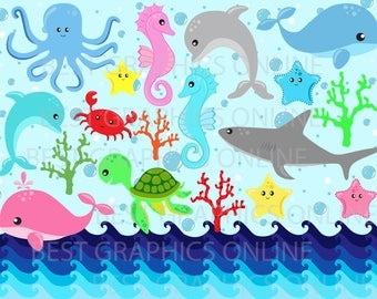 80% OFF SALE Commercial use clipart, Ocean life clipart, Shark Turtle Dolphin Octopus Sea Horse Starfish clipart,  Sea creatures clipart G5