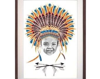 Hand Drawn Portrait Little Chief