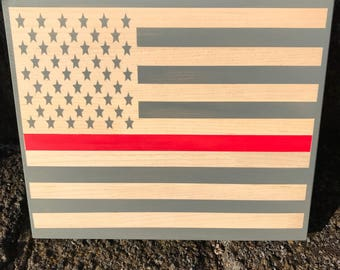 Thin Red Line wooden sign