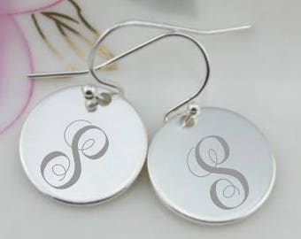 Simple Silver Personalized Earrings
