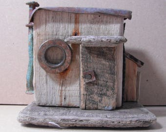 Garden shed made from driftwood and an assortment of other things I have collected from Solent beaches and creeks.