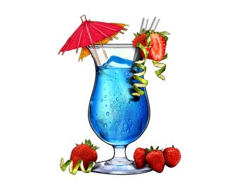 Tropical drink with umbrella decal, full color drinking sticker, drinking decals