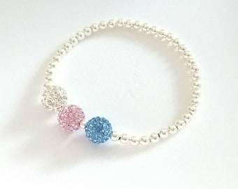 Blue, Pink & Clear Crystal Bracelet, Silver Bead Bracelet, Stretch Bracelet, Sparkly Bracelet, Stacking Bracelet, Bridesmaid