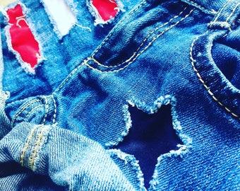 Patriotic distressed shorts