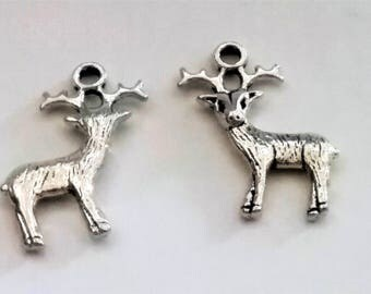 5 Reindeer Deer Charm Pendant Antique Silver Tone, Deer Charms, Reindeer Charms, Christmas Charms, Animal Charms, USA Seller, 25mm (C156)