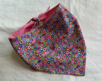 Shaped Tie End Dog Bandana - Reversible Multi-Coloured Circles/Pink with Sparkly Stars