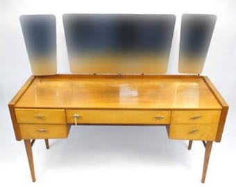 1950s Alfred Cox Walnut & Birch Dressing Table with Mirror