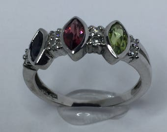Multicolor Stone Ring, White Gold Ring, Gift for Her, Family Ring, Women Ring, Birthday Gift, Sapphire Ring, Granate Ring, Peridot Ring