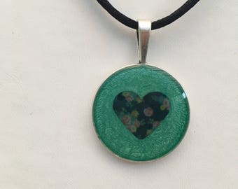 Pendant Necklace With A Floral Silhouette Inlay Unique Teacher Gift Boho/Indie/Festival