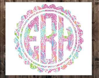 Scallop Monogram Decal, Lilly Circle Monogram Decal, Yeti Monogram Decal, Yeti Decal, Lilly Monogram Decal, SIC Decal, Scallop Monogram