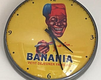 "Advertising wall clock ""y'a good Banania"" edition Clouet - works - very good condition"
