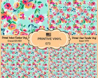 Painted Flowers Pattern Printed Vinyl/Siser HTV/ Oracal/ Indoor Vinyl/ Outdoor Vinyl/ Heat Transfer Vinyl- 073