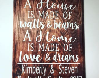 Home quote with address plaque for new home, housewarming or anniversary gift!